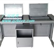 太原博奥翻转电脑桌销售厂家直销 钢木二人位电脑翻转桌