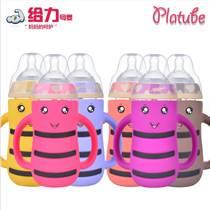 現貨批發寬口徑玻璃奶瓶寶寶防脹氣嬰兒用品防摔帶吸管兒童喝水瓶
