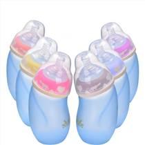 批發嬰兒玻璃奶瓶寬口徑感溫防爆防嗆脹氣弧形保溫帶吸管母嬰用品