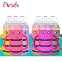 寬口徑玻璃奶瓶寶寶防脹氣嬰兒用品防摔帶吸管兒童喝水瓶