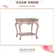 齊居置家歐式實木角幾大理石面沙發角桌美式鄉村奢華雕花