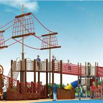 户外幼儿园滑梯 木制海盗船 高空拓展攀爬网