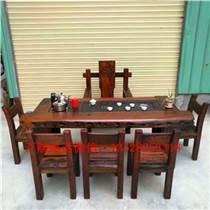 老船木客厅茶几船木功夫茶几茶桌椅阳台小茶台博古架