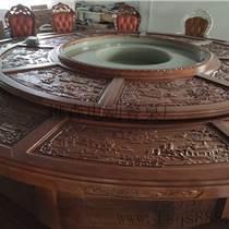 電動實木雕花桌 酒店餐桌 紅木電動餐桌 圓形電動餐桌
