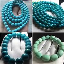 直銷湖北原礦高瓷藍綠松石佛珠項鏈手串圓珠回紋珠老形1