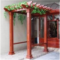 华禹专业定制仿木长廊花架园林景观铝合金葡萄架