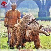 草皮稻草植物雕塑美陳擺件定制制作