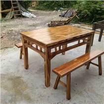 碳化木餐桌椅板凳碳燒仿古八仙桌酒店實木家具碳燒臺凳