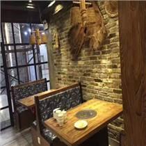 天津主題復古火鍋店桌椅  無煙火鍋桌子電磁爐一體