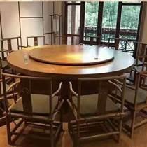 新中式酒店電動餐桌實木大圓桌多人20位自動旋轉桌椅組
